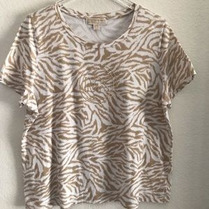 Michael Kors Tee w/ Gold Embellished Logo Plus 2X